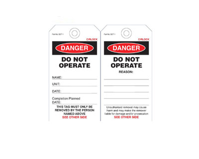 Danger Do Not Operate Tag - SDT-1 5 Pack
