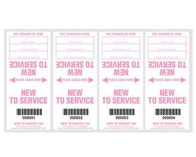 New To Service tags (100 pack) - with pen