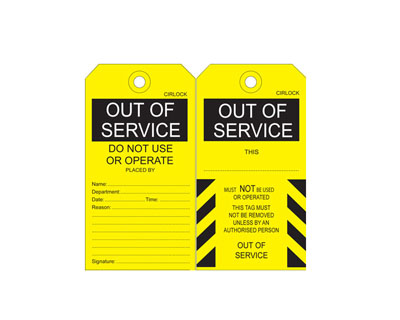 Out of Service Tag - SDT-2 5 Pack