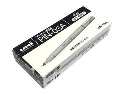 Tag Pen / Fine Permanent Marker Uni PIN-03A 10 Pack